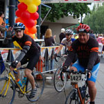 Vern and our son, Joe, crossing the finish line in the Seattle to Portland bike ride!